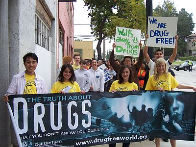 ... anti-drug march to educate their peers on drug abuse and addiction